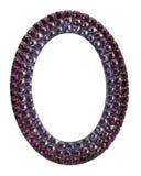 与紫色宝石的卵形框架在白色背景 免版税库存图片