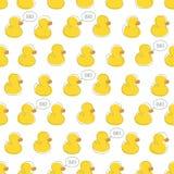与黄色小鸭子的无缝的传染媒介样式 库存例证