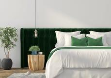 与绿色床和木桌的时髦内部 向量例证