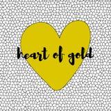 与黄色心脏的白色和黑马赛克背景 向量 免版税库存图片