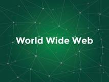 与绿色星座地图的万维网白色文本例证作为背景 免版税库存照片