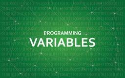 与绿色星座的编程的可变物白色文本例证映射作为背景 库存图片