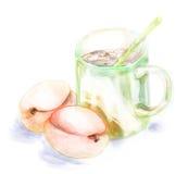 与绿色杯子和橙色桃子的静物画 库存图片