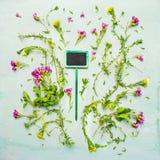 与绿色标志的庭院小的花在蓝色木背景,顶视图 免版税库存照片