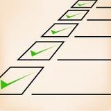 与绿色标志,线的企业目标清单 免版税库存图片