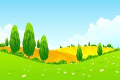 与绿色树和领域的风景 免版税库存照片