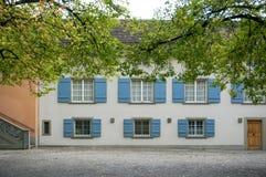 与绿色树的开窗口葡萄酒淡色大厦看法  免版税库存图片