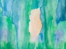 与绿色树的水彩背景 库存照片