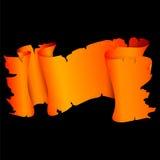 与黄色样式的橙色纸卷 免版税库存图片