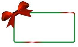 与绿色框架红色弓的圣诞卡 免版税库存照片