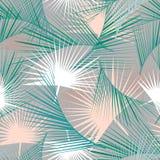 与绿色棕榈叶的无缝的热带样式 密林纹理 为墙纸,样式积土,网页背景完善 免版税库存图片