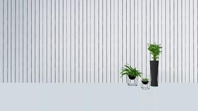 与绿色植物的老墙壁装饰花瓶3D的回报 免版税图库摄影
