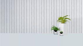 与绿色植物的老墙壁装饰花瓶3D的回报 图库摄影