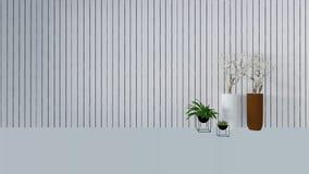 与绿色植物的老墙壁装饰花瓶3D的回报 库存图片