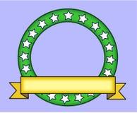 与黄色横幅的绿色圆环 免版税库存照片