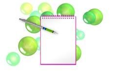 与绿色泡影和球形的空白的书在背景为招呼增加 3d例证 图库摄影