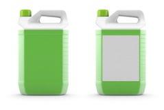 与绿色液体的白色塑料罐 图库摄影