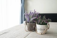 与紫色淡紫色花的床和桃红色玫瑰在花盆开花 免版税图库摄影