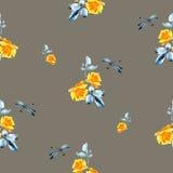与黄色玫瑰的水彩无缝的样式 免版税图库摄影