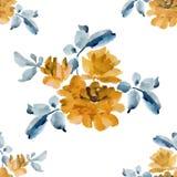 与黄色玫瑰花束的水彩无缝的样式在白色背景的 库存图片