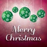 与绿色球的抽象红色圣诞节背景 图库摄影