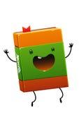 与绿色的快乐的愉快的书褐色字符 库存照片