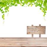 与绿色的木地板在白色背景留给框架被隔绝 图库摄影
