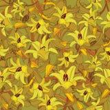 与黄色的花卉无缝的样式开花百合 免版税库存照片