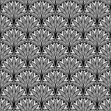 与黑色的装饰花卉无缝的样式 免版税图库摄影