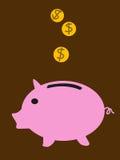 与黄色硬币的桃红色猪 免版税库存照片