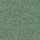 与绿色秋叶的无缝的传染媒介样式 库存照片