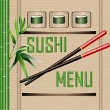 与绿色竹子和竹子席子的寿司菜单 免版税库存图片