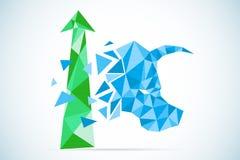 与绿色箭头、股市和企业概念的多角形公牛标志 皇族释放例证