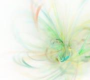 与绿色羽毛纹理,分数维pa的白色抽象背景 免版税库存图片