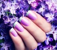 与绿色艺术修指甲的紫罗兰 免版税库存图片