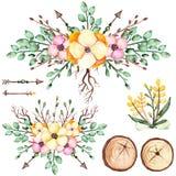 与黄色花、箭头和木头的水彩花束 免版税库存图片
