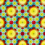 与黄色花的彩色玻璃无缝的样式 库存照片