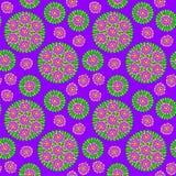 与紫色花的无缝的样式 免版税图库摄影