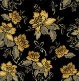 与黄色花的无缝的黑背景 库存照片