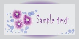与紫色花的海报设计 蓝色云彩图象彩虹天空向量 免版税图库摄影