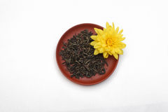 与黄色花的茶叶在陶瓷茶碟 免版税图库摄影