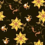 与黄色花的黑褐色无缝的样式 库存图片