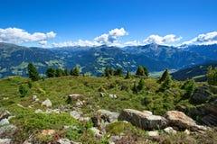 与绿色草甸和石头的惊人的夏天山风景在前景 奥地利,提洛尔, Zillertal,高高山的Zillertal 免版税库存图片