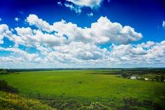 与绿色草甸的自然风景,从小山,与云彩的明亮的蓝天的看法 图库摄影