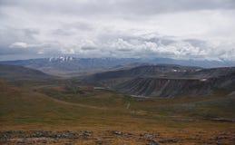 与黄色草的宽谷在Ukok高原,在多云幽暗剧烈的天空下 库存照片