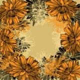 与黄色菊花的花卉背景。手 库存例证