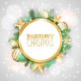 与黄色装饰品和分支的圣诞节背景 免版税库存照片