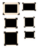 与黑色角落2的六个老照片框架 免版税库存照片