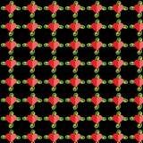 与绿色词根,黑背景,样式的红色心脏, 图库摄影