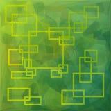 与黄色边界的长方形在绿色多角形背景 库存图片